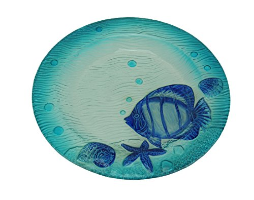 Leon Korol Transparent Blue Coastal Seashell and Fish Round Glass Dish
