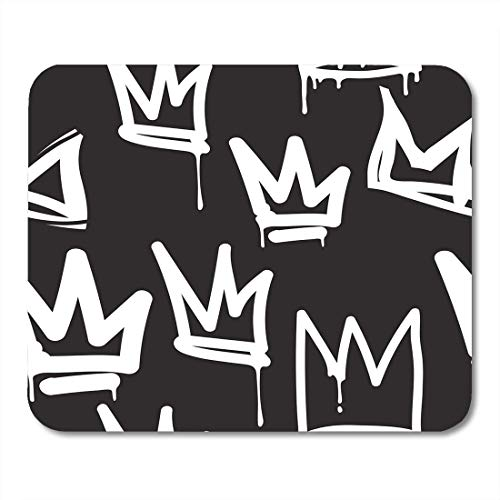 Mouse Pads Crown Tags Black and White Graffiti in Hip Hop Street Skateboard Pattern Urban Mouse pad 9.8