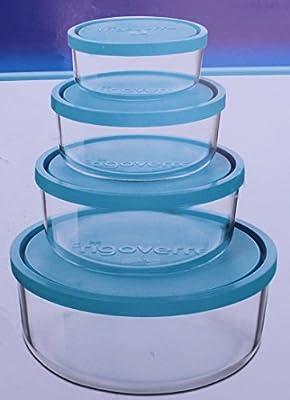 Juego de 4 bormiolli frigo rverre Cristal Recipientes Microondas y ...