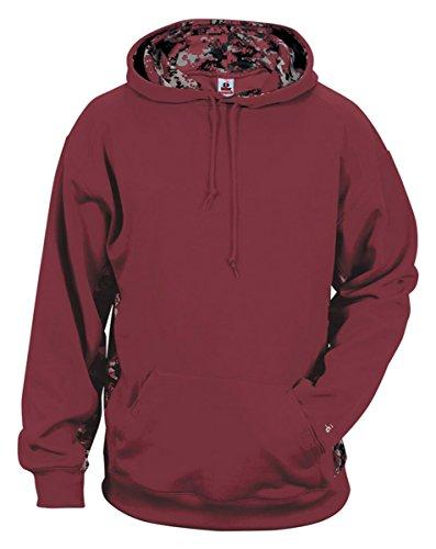 (Badger Digital Performance Hooded Sweatshirt, X-Small, Maroon/Maroon Digital )