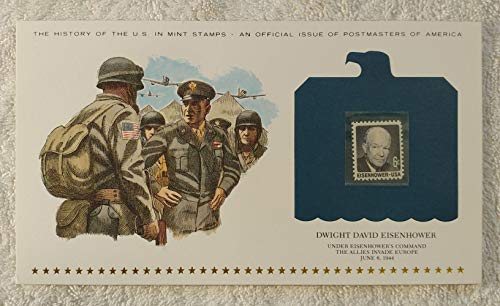 Dwight David Eisenhower - Under Eisenhower's Command the Allies Invade Europe - Postage Stamp (1969) & Art Panel - History of the United States: an official issue of Postmasters of America - Limited Edition, 1979 - World War II,WWII, D-Day