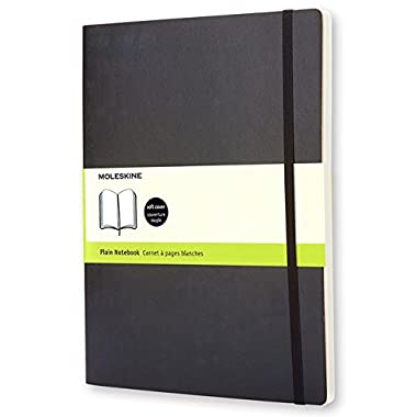 Moleskine Classic Notebook, Extra Large, Plain, Black, Soft Cover (7.5  x 9.75 ) (Classic Notebooks)