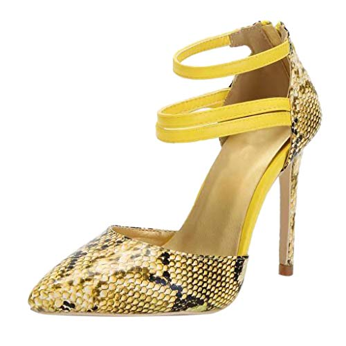 Outtop(TM) Women Sexy Pointed Toe Snake Skin Pattern Foot Ring High Heel Shoe Pumps Sandals (US:7.5, Yellow)