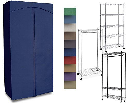 ClarUSA Premium Canvas/Duck Cover 18x48x68 fits an Existing Garment/Shelf Unit (not Included) Royal Blue