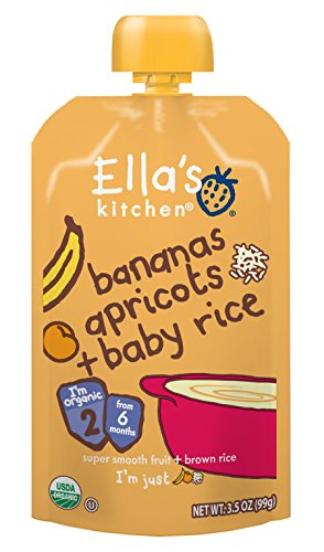 Ella's Kitchen Organic Stage 2, Bananas Apricots + Baby Rice, 3.5 Ounce (Packaging May Vary)