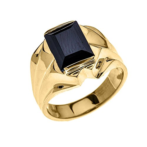 Men's 14k Yellow Gold 4 Carat Black Onyx Bold Solitaire Ring (Size 13)