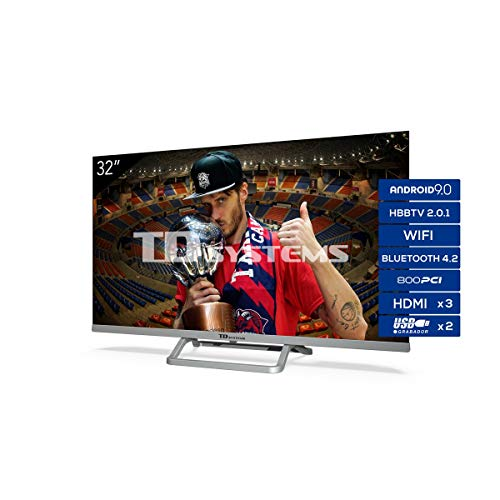 TD Systems Televisor Smart TV Android 9.0 y HBBTV, 800 PCI Hz, 3X HDMI, 2X USB. DVB-T2/C/S2, Modo Hotel – K32DLX11HS…