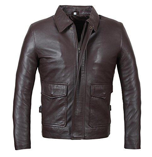 Indiana Jones Jacket - Harrison Ford Lambskin Distressed Brown Leather Jacket Men | L