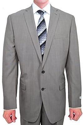 Calvin Klein Light Slim Fit Light Tan Textured 2 Button New Men's 2-Piece Suit Set