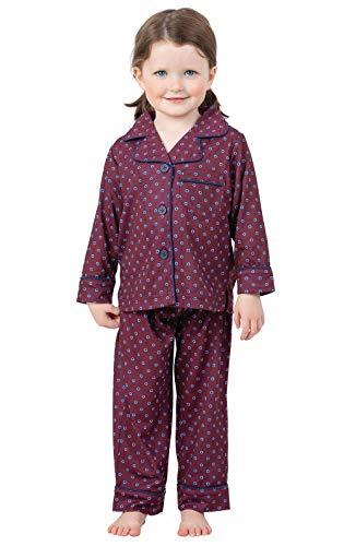 Polka Dot Kids Pajamas - PajamaGram Classic Foulard Toddler Pajamas - Burgundy 5T