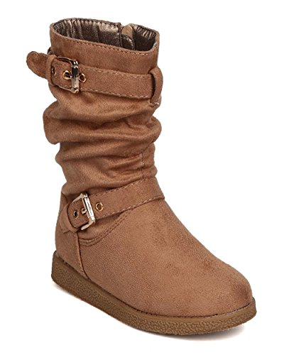 DbDk Girls Faux Suede Buckled Slouchy Tall Winter Boot FG61 - Taupe (Size: Little Kid (Buckled Slouchy Boots)
