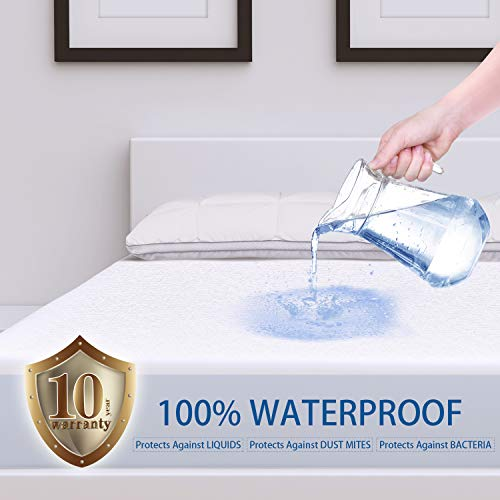 (ZAMAT Premium 100% Waterproof Mattress Protector, Breathable & Noiseless Mattress Pad Cover, Fitted 14