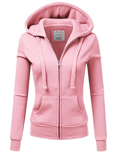 Doublju Lightweight Thin Zip-Up Hoodie Jacket For Women With Plus Size candypink Medium