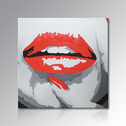 Seekland Art Hand Painted Red lips Modern Pop Canvas Wall Art Large Abstract Oil Painting Contemporary Artwork Unframed (48x48 inch) by Seekland Art