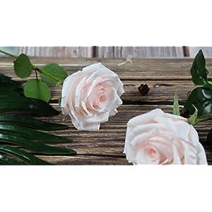 Blush Pink Paper Rose Handmade Art Crepe Paper Flowers for Home decorations Wedding bridesmaids bouquets, Single Long Stem 2
