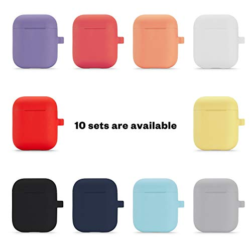 Camyse Airpods Case, Airpod Silicone Skin Cases Cover, Full Protective Durable Shockproof Drop Proof with Keychain Compatible with Apple Airpods 2 & 1 Charging Case,AirpodsAccesssories (Black)