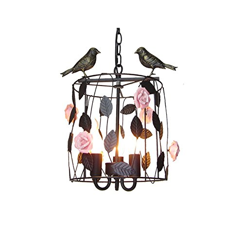Leihongthebox pendant Light Black Retro metal Oil Rubbed Bronze with Gold Interior ,The floral birdcage chandeliers in the Korean-style chandelier ,2840CM(E143),BLACK Garden