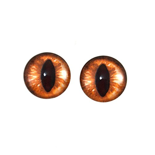 - Megan's Beaded Designs 14mm Amber Cat Glass Eyes Fantasy Cabochons Taxidermy Art Doll Making or Jewelry Crafts Set of 2