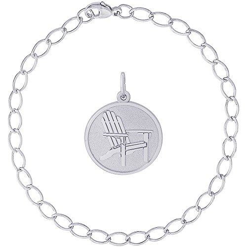 (Rembrandt Charms Sterling Silver Deck Chair Charm on a Elongated Oval Bracelet, 8