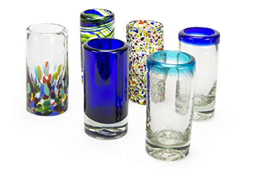 Shot Glass Tall Set (MEXART Artisan Crafted Hand Blown 6 Defferent Design Collection Recycled Glass Shots Glasses, 2 oz. 'Classic' (set of 6))