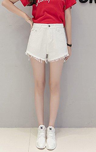 Pantaloncini JackenLOVE Denim Hot a Shorts Pantaloni Jeans Vita Alta Pants Donna Frange Bianca Corto Moda con Casual ffPpnBq