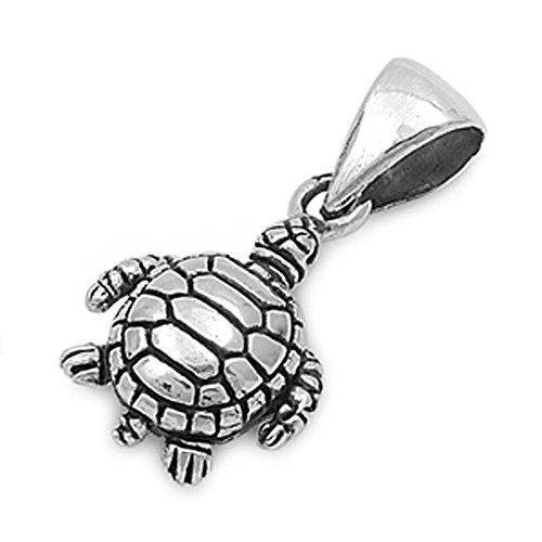 - Turtle Pendant .925 Sterling Silver Charm - Silver Jewelry Accessories Key Chain Bracelet Necklace Pendants