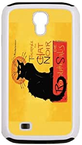 Rikki KnightTM Le Chat Noir White Tough-It Case Cover for Galaxy S4 4 & 4s (Double Layer case with Silicone Protection)