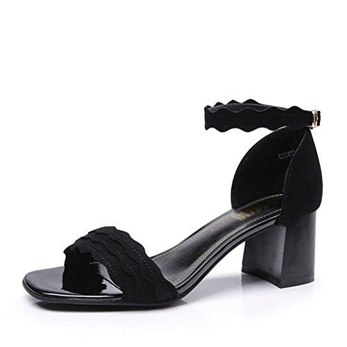 Donna con Sandali Open Tacco Sandali Tacco Superficiale Toe NAMU Fibbia Dress Sandals Fashion da Donna con Sandali Sandali con Nero Posteriore Alto OT7nfxq5w