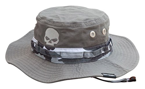 s Embroidered Camo Boonie Cotton Twill Hat, Gray HD-475 ()