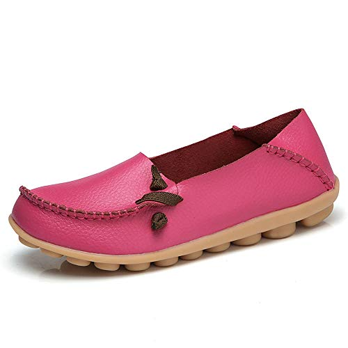 Lucksender Womens Soft Leather Comfort Driving Loafers Shoes 9B(M) US Hot Pink