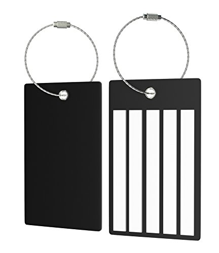 Travel Suitcase Luggage Bag Tags, Airlines Baggage Labels (2 Tags Black)