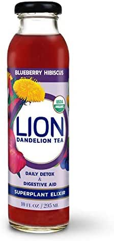 Prebiotic Tea LION (Blueberry Hibiscus) Dandelion Improve Digestion & Reduce Bloating Our Prebiotics Feed Your Probiotics Boost Immune System Delicious and Refreshing Bottled Tea Dandelion Leaf Root
