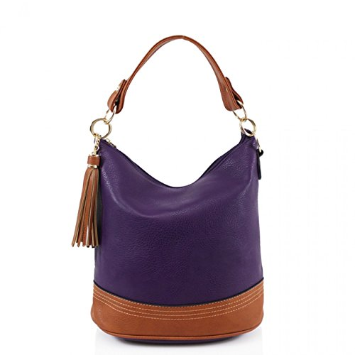 Tassel Women Bucket Handbags Bag Purple Shoulder Fashion Tote CW9660 Women's Bags LeahWard For a8wEq5T