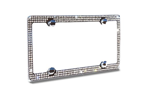 Bling 3 Rows Grey Color Crystal Embedded Metal Chrome License Plate Frame with Free Caps - Embedded Crystal