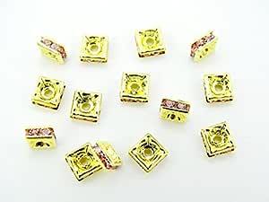 Jennysun2010 - Cuentas de cristal checo chapadas en oro de 10 mm, cuadriculadas, 100 unidades por bolsa, para pulsera, collares, pendientes, joyería, manualidades