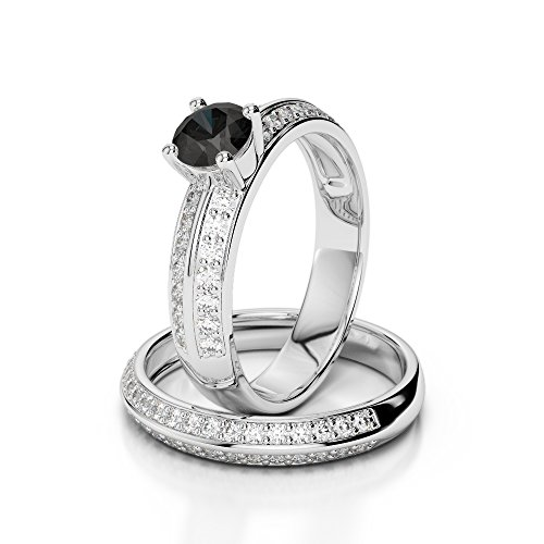 Or blanc 18carats 1/2ct G-H/VS sertie de diamants ronds Coupe Noir de mariage Bague de fiançailles et ensemble de Agdr-1156
