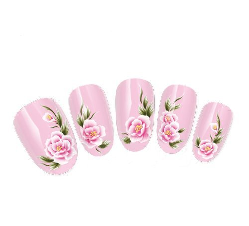 Ottery 1PCS Nail Decals Pink Rose Flowers Pattern Water Transfer Decals Nail Stickers For Nail Art Tattoo Nail Wrap Cell Phone ()