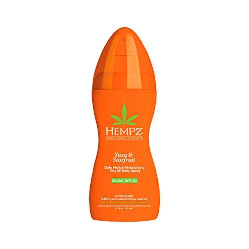 Hempz Yuzu & Starfruit Daily Herbal Dry Oil Spray with SPF 30, 6.76 Ounce