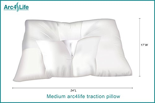 Arc4life Cervical Traction Pillow for Neck Pain Relief, Cervical Neck Support and Neck Traction, Best Pillows for Sleeping, Stop Neck Pain, Side Sleeper Pillow for Neck Pain MEDIUM 24x17