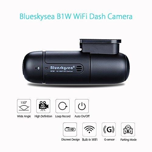 Blueskysea B1W WiFi Mini Dash Cam Car Camera Vehicle Video Driving Recorder 360 Degree Rotatable Lens 1080p 30fps G-Sensor Loop Recording by Blueskysea
