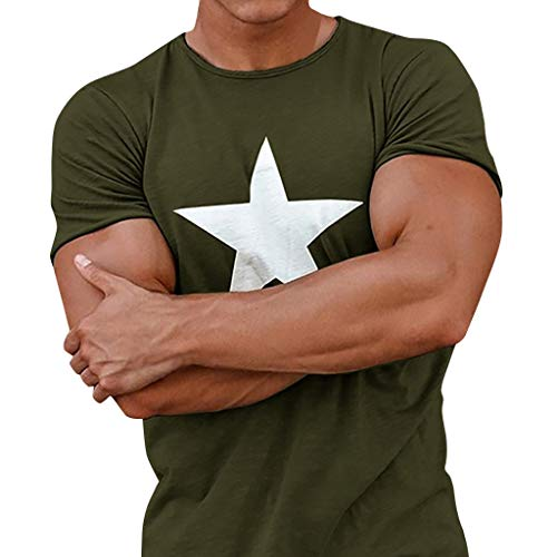 - Outique Mens Tops Casual Slim Fit Summer Short Sleeve T-Shirts Cotton Blended Soft Lightweight Crew-Neck T-Shirts Army Green