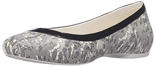 crocs Women's Lina Shiny Ballet Flat, Oyster/Black, 6 M US