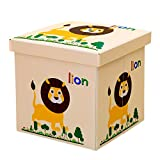 Viyor shop Foldable Storage Ottoman,Animal Collapsible Toy Chest Square Storage Organizer Boxes Lion
