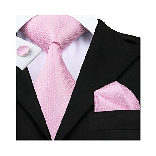 Hi-Tie Pink Plaid Checks Jacquard Woven Silk Tie Necktie Set (Silk Necktie Pink)