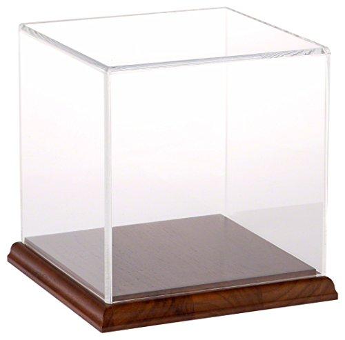 Acrylic Display Case Wood Base - Plymor Brand Clear Acrylic Display Case with Hardwood Base, 6