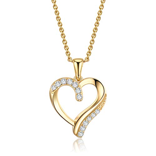 VOUCHON 14K Yellow Gold Plated Sterling Silver Love Heart Pendant Necklace for Women Girls (Gold Necklace Heart Pendant)