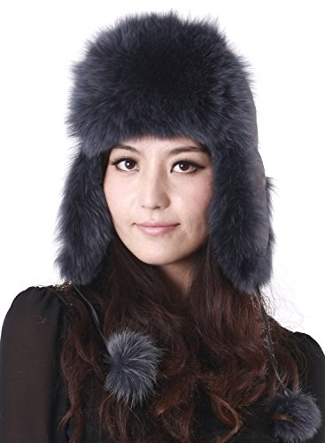 Pulinda Women's Dyed Blue Russian Ushanka Fox Fur Hat Blue One Size