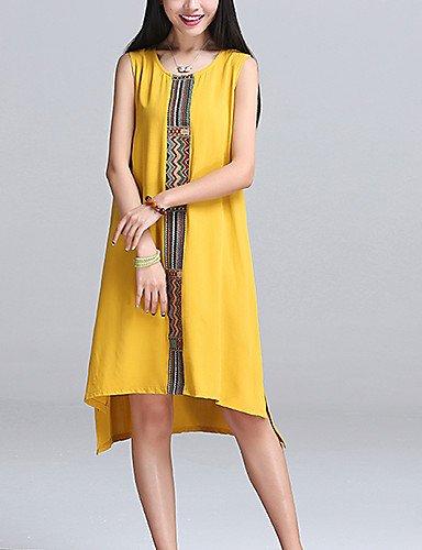 PU&PU Robe Aux femmes Trapèze Street Chic,Couleur Pleine Col Arrondi Midi Coton , yellow-xl , yellow-xl