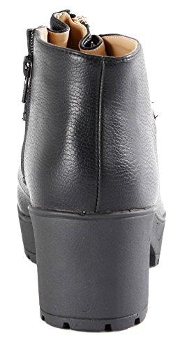 Heel Womens 29 Chelsea Winter MID Ladies Ankle Booties Heeled 8 POP HIGH Style Black Block Platform Size 3 Boots BwqTvX