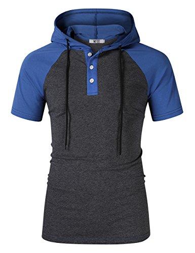MrWonder Men's Casual Slim Fit Raglan Baseball 3/4 Sleeve 3 Button Henley T-Shirts (L, Hoodie ()